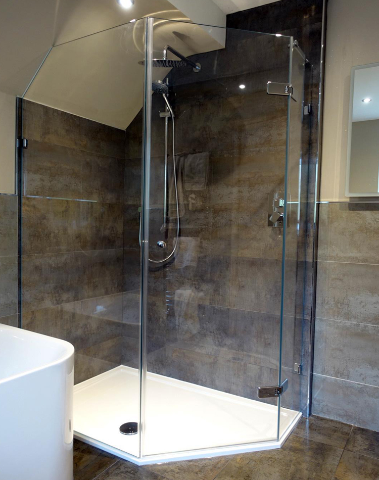 Corner-shower-enclosure-under-sloping-ceiling